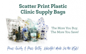 Scatter Print Plastic Clinic Supply Bags ~ The More You Buy....The More You Save!