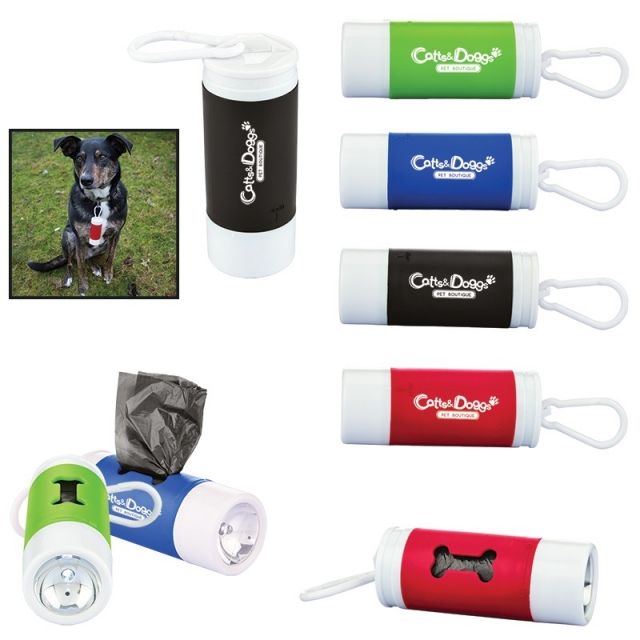Pet Waste Disposal Bag Dispenser w/ Flashlight
