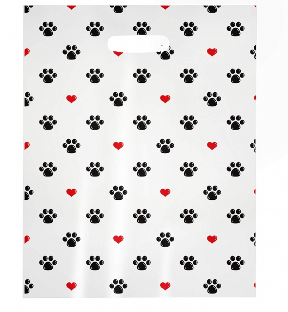 Black Paw Prints with Red Hearts (Black & Red) MSP1008